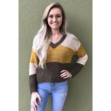Fixed On You Sweater- Olive Multi