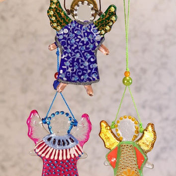 Handmade LITTLE ANGEL glass fusing techniques newborn gift lovers mothers guardian amulet talisman