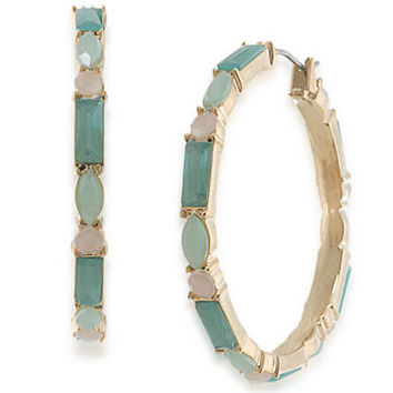 Carolee Island Daiquiri Mixed Stone Hoop Earrings