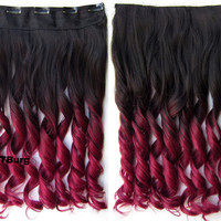 """Dip dye hairpieces New Fashion 24"""" Women Clip in on gradient wig Bath & Beauty Hair Ombre Hair Extensions Two Tone Curly Hair Gradient Hair Extension Colorful Hairpieces GS-888 2TBurg,1PCS"""