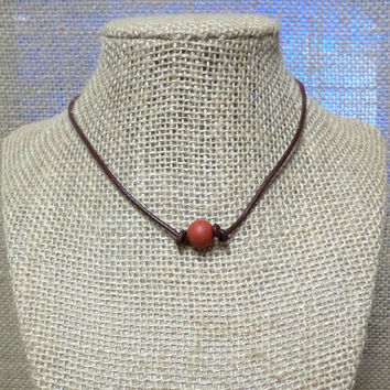 Matte Poppy Jasper Semi-Precious Stone Genuine Leather Cord Choker Necklace Pearl Slip Knot Closure