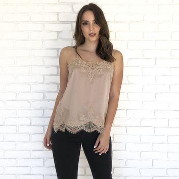 Place in Satin Camisole in Charcoal Mocha