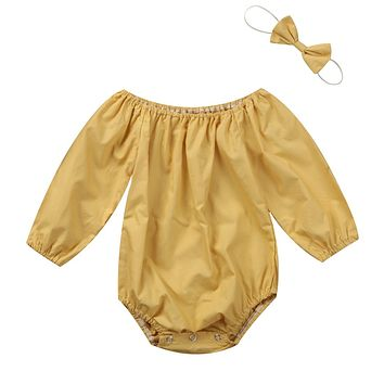 Cute Newborn Baby Girls Romper Long Sleeve Pure Color Jumpsuit 2PCS Outfits Clothes Play-suit With Headband