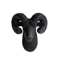 The Rocky | Ram Head | Faux Taxidermy | Black Resin