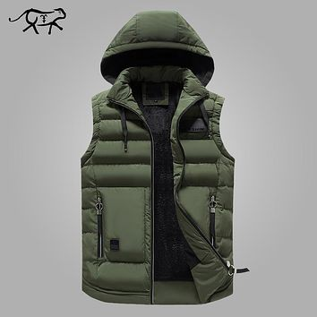 Mens Winter Jackets Casual Thick Vests Men Sleeveless Hoodie Coats Male Cotton Padded Warm Slim Big Pocket Cashmere Waistcoat