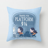 Platform 9 3/4 Throw Pillow by Anna-Maria Jung