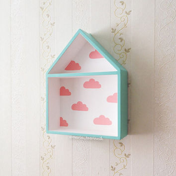 House Shaped Shelf, Wooden House Shelf, Kids Shelf. House Shadow Box.