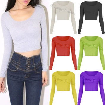 Sexy Womens Ladies Slim Long Sleeve Crop Top Crew Neck T Shirt Blouse 7Colors = 1956626692