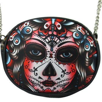 Liquorbrand Butterfly Day of the Dead Sugar Skull Tattoo Chain Crossbody Purse