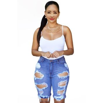2016 Summer Blue White Black Denim Destroyed Bermuda Shorts Women Ripped Hole  High Waisted Jeans Short Feminino E78649
