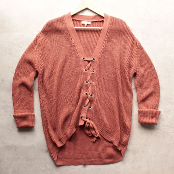 marsala lace up grommet knit sweater