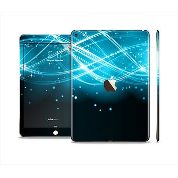 The Abstract Glowing Blue Swirls Skin Set for the Apple iPad Air 2