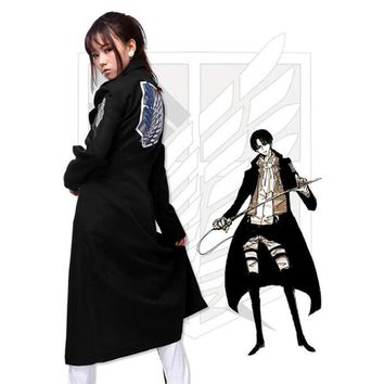 Cool Attack on Titan Anime Cosplay ing Giants Levi Rivaille Jacket Cloak Adult Halloween Carnival Cosplay Costume  Black Cloak AT_90_11