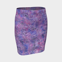 Purple and faux silver swirls doodles Fitted Skirt Fitted Skirt