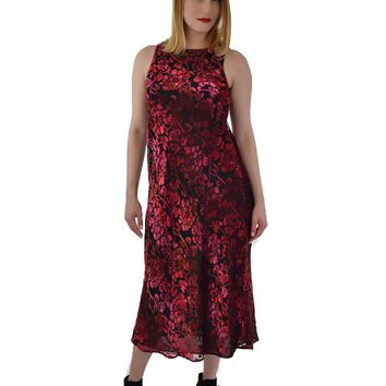 90s Floral Burnout Velvet Maxi Dress-M