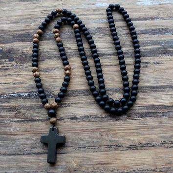Best beaded cross necklace for men products on wanelo 6mm black stone wood beads with black stone cross pendant mens rosary necklace mens mala jewelry aloadofball Choice Image