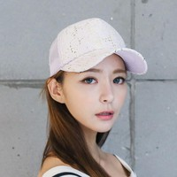 2016 Spring Summer Joker Sun Hat Paillette Baseball Cap Women  Ventilate Net Skullies