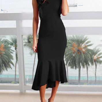New Black Ruffle Backless High-Low Bodycon Mermaid Elegant Homecoming Party Maxi Dress