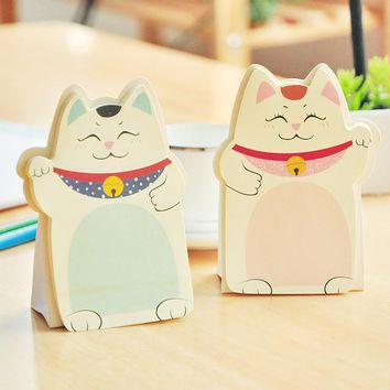 Cute Kawaii Lucky Cat Stand Memo Pads Paper Stick Message Sticker Stationery Bookmark Sticky Notes Office Supply Pepsi Stick