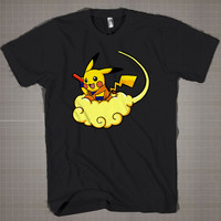 PIKACHU DRAGONBALL  Mens and Women T-Shirt Available Color Black And White