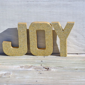 Gold JOY Glitter Stand Up Letters Christmas Holiday Decoration, Wedding Decor, Wedding Table