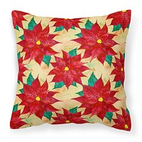 Poinsetta Christmas Fabric Decorative Pillow BB7485PW1818