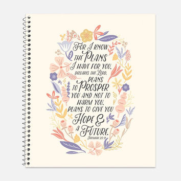 Jeremiah 29:11 Notebook, Waterproof Cover, Bible Journal, School Supplies, Office Supplies, Flower Journal, College Ruled Notebook