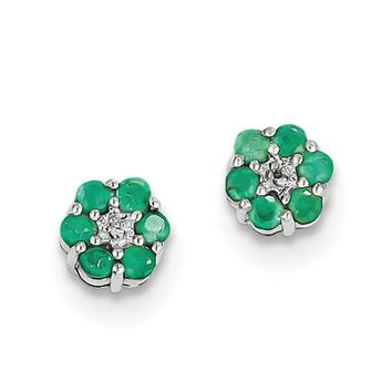 Sterling Silver Genuine Emerald And Diamond Center Flower Post Earrings