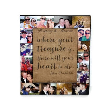 Personalized Photo Frame Unique Picture Frame Collage Wedding or Engagement Gift - Romantic Gift - Bridal Shower Gift Where your treasure is