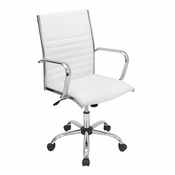 LumiSource Master Height Adjustable Office Chair White with Swivel