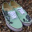Custom Hand Drawn Sharpie Rose Design Vans Shoes