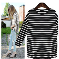 Fashion Spring Summer Women Stripes Printed Long Sleeve Round Necked T-Shirt a13109