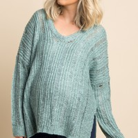 Mint Green Heathered Cutout Hi Low Maternity Sweater