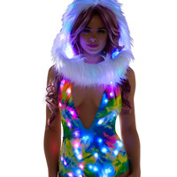 Tie Dye Deep Plunge Light Up Rainbow Rave Bodysuit