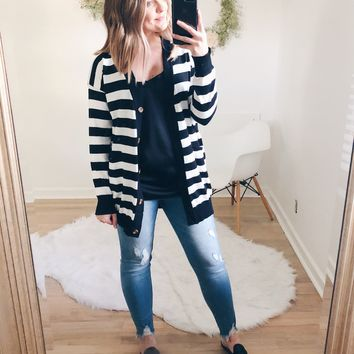 Lindsay Striped Button Down Sweater