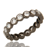 Round Cut Cubic Zirconia Black Rhodium Plated Sterling Silver Eternity Ring