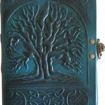 Tree of Life Blue Leather Covered Journal with Latch