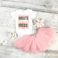 Haute mess baby Onesuit for baby girls, available in sizes newborn, 6 months, 12 months, 18 months funny kid's graphic baby gift
