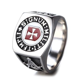 Retro Signet Red Enamel Masonic Templar Ring , Knights Templar Rings , Knights Templar Cross Ring Men