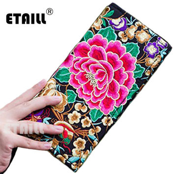 Large Ethnic Long Wallet Embroider Purse Female Boho Clutch Coin Bag Women's Lady Mobile Phone Bag Monederos Bordados Etnicos