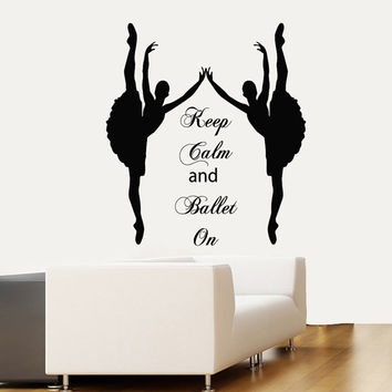 Wall Decals Keep Calm And Ballet On Quote Ballerina Ballet Studio Sport People Home Vinyl Decal Sticker Kids Nursery Baby Room Decor kk144