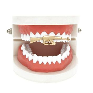 ac DCCKO2Q Yinian New Custom Fit Rifle Single Tooth Grillz Cap Top & Bottom Grill gold teeth caps grillz dental CC094