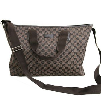 Gucci Brown Canvas Leather Tote Messenger Bag Handbag 257298