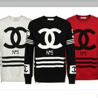 VONEV0G CHANEL Hot letters print T-shirt top