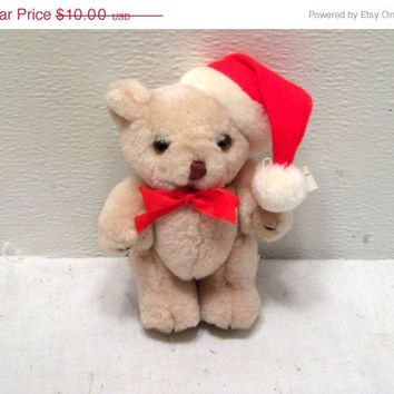 Holiday, Plush, Christmas,  Santa, Teddy, Bear, Toy, Decor, Beige, Xmas, Brown, Stuffed, Animal, Tree, Mantle, Stocking, Shelf, Red,Ornament