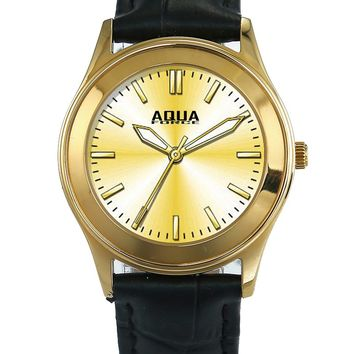 Aqua Force Womens Elegant Gold Face Dress Watch w/ Black Leather Strap (30M water resistant)