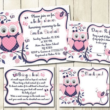 Navy Blue Pink owl baby shower printable invitation set baby girl digital invite with inserts thank you bring a book Diaper Raffle card