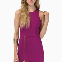 Zipper-Slit Bodycon Dress