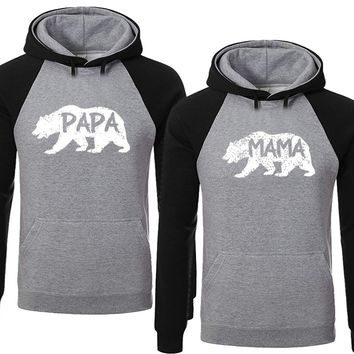 BOLD Bear Family Hoodies for Mama Bear & PAPA Bear Pullover Sweater-Heather Gray Black -Price for 1