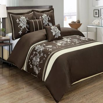 Myra Chocolate 5-Piece Duvet Cover Set Embroidered 100% Cotton